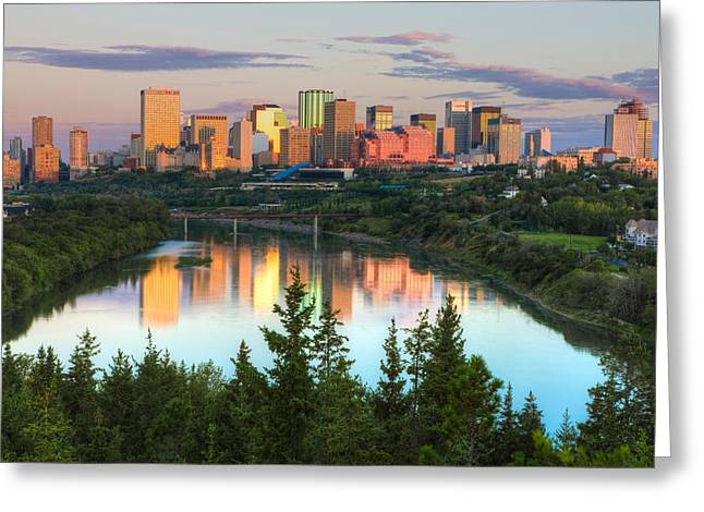 Reflection Of Downtown Buildings Greeting Card by Panoramic Images