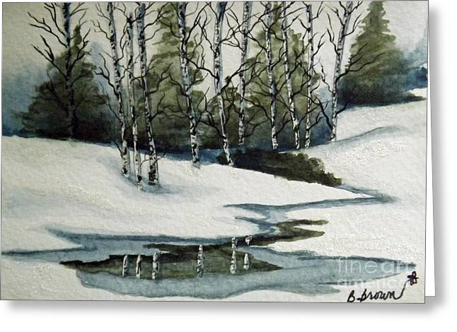 Reflections Of Winter Greeting Card by Brenda Brown