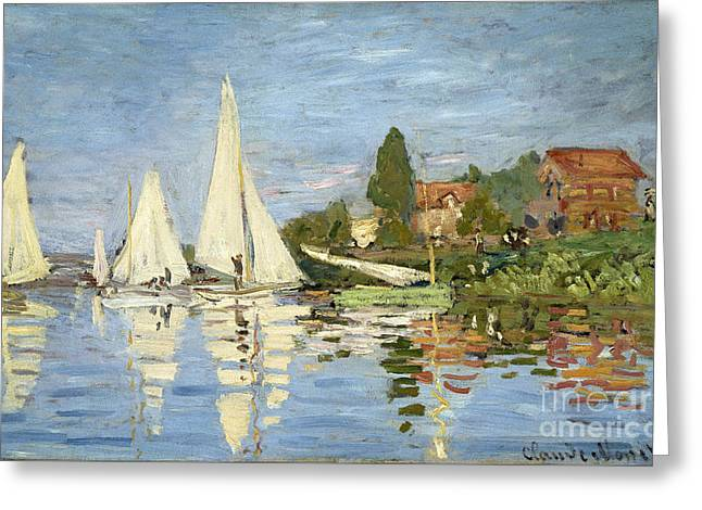 Regattas At Argenteuil Greeting Card by Claude Monet