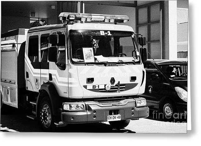 Renault Fire Trucks Tenders Constitucion Fire Station Chile Greeting Card by Joe Fox