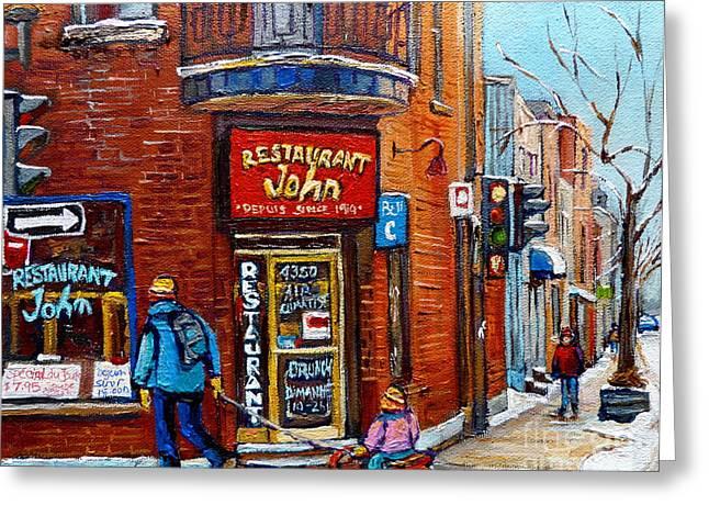 Restaurant John Montreal Greeting Card by Carole Spandau