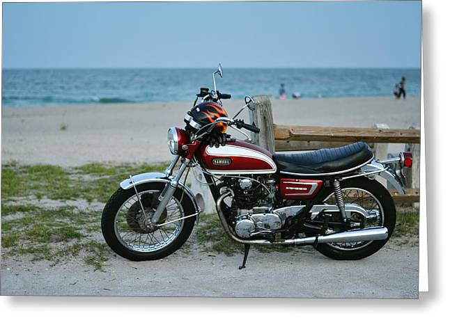 Retro Beach Ride Greeting Card by Laura Fasulo
