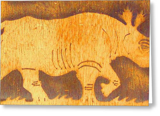 Rhino Greeting Card by Larry Campbell