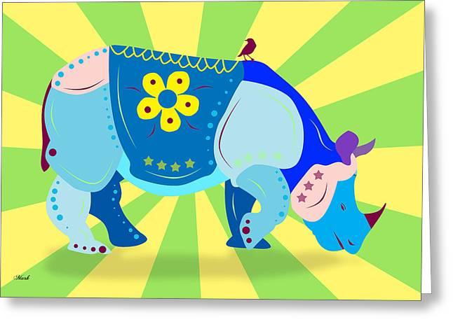 Rhino Greeting Card by Mark Ashkenazi