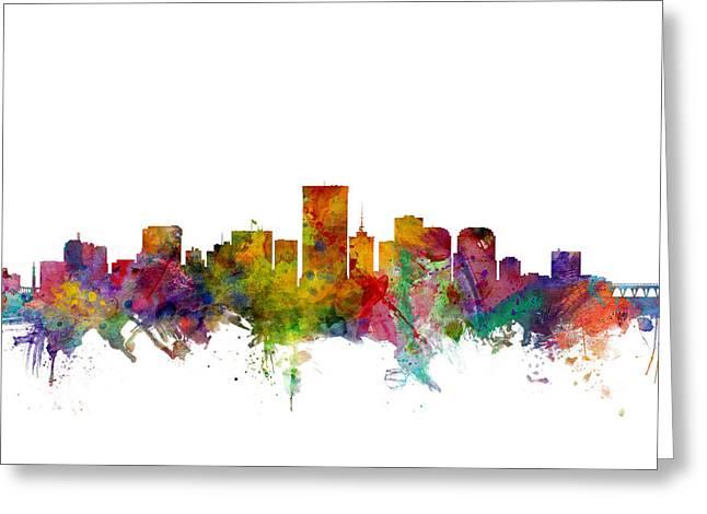 Richmond Virginia Skyline Greeting Card by Michael Tompsett