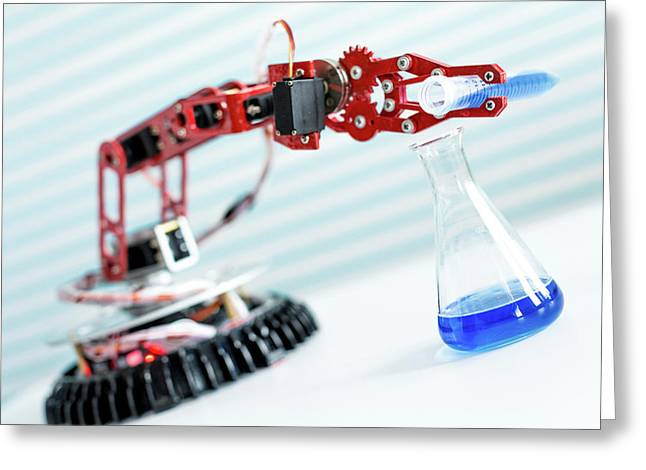 Robotic Arm Pouring Chemical Greeting Card