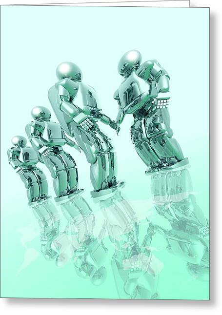 Robots Greeting Card by Victor Habbick Visions