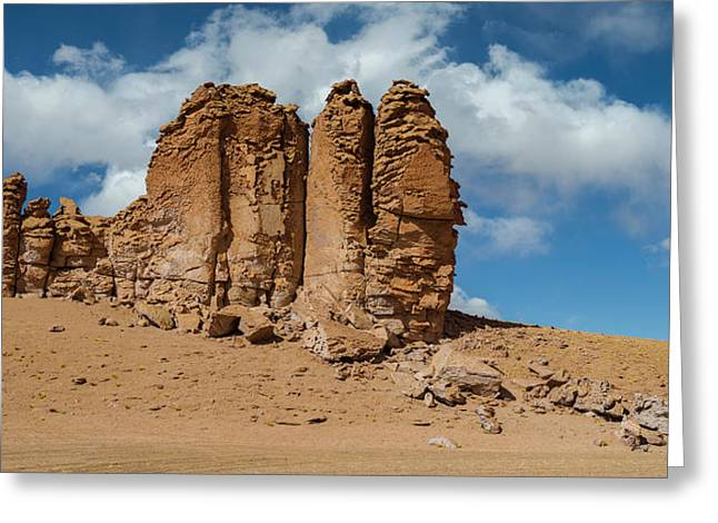 Rock Formations In The Pacana Guardians Greeting Card by Panoramic Images