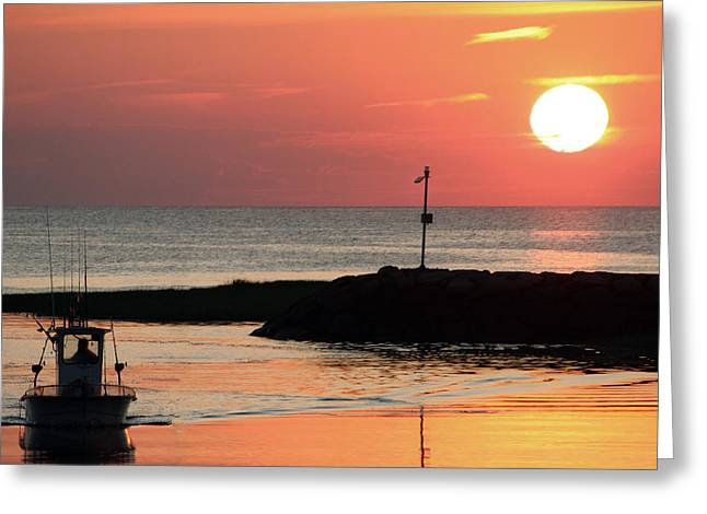 Rock Harbor Sunset Greeting Card by Jim Gillen