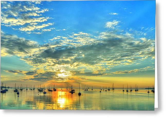 Rockland Harbor Sunrise On July 4 2013 Greeting Card