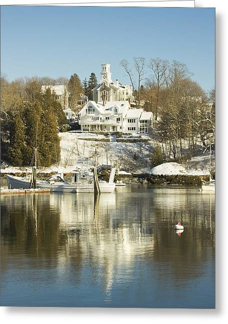 Rockport In Winter On The Coast Of Maine Greeting Card by Keith Webber Jr