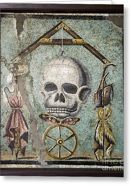Roman Memento Mori Mosaic Greeting Card