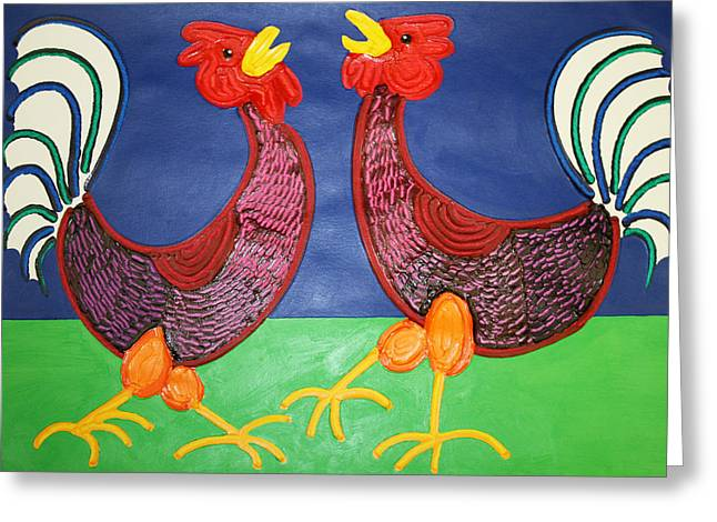 2 Roosters Greeting Card by Matthew Brzostoski