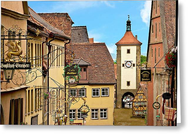 Rothenburg Ob Der Tauber, Germany Greeting Card by Miva Stock