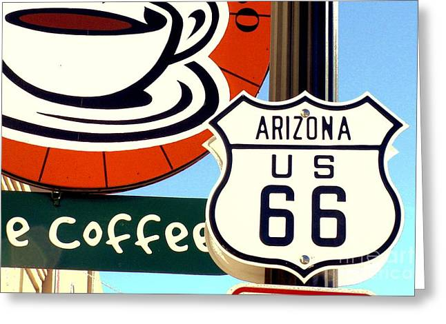 Greeting Card featuring the digital art Route 66 Coffee by Valerie Reeves