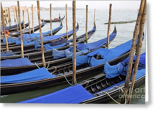 Row Of Empty Moored Gondolas Greeting Card by Sami Sarkis