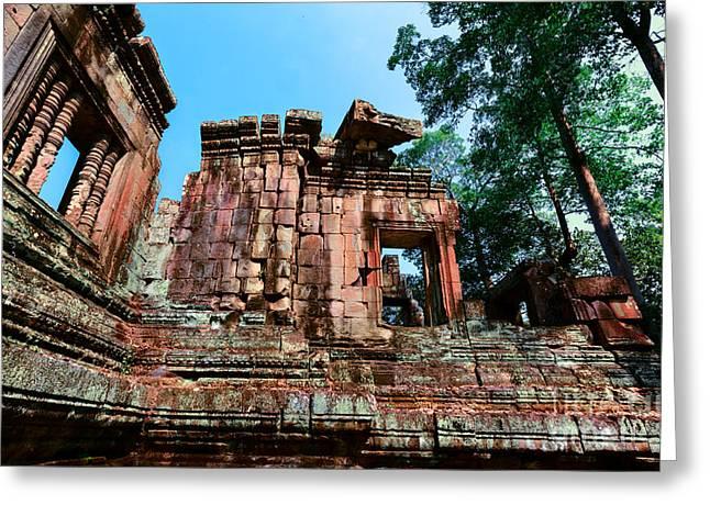Ruin At Angkor Greeting Card by Julian Cook