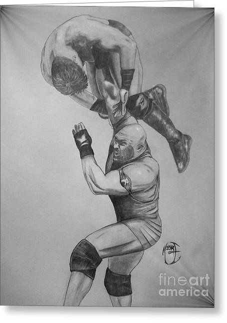 Greeting Card featuring the drawing Ryback by Justin Moore