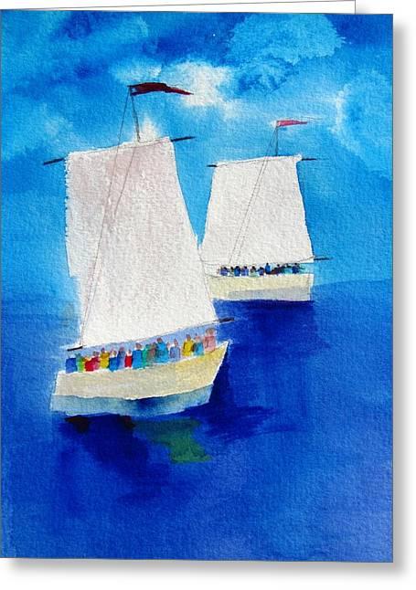 2 Sailboats Greeting Card