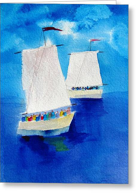 2 Sailboats Greeting Card by Carlin Blahnik