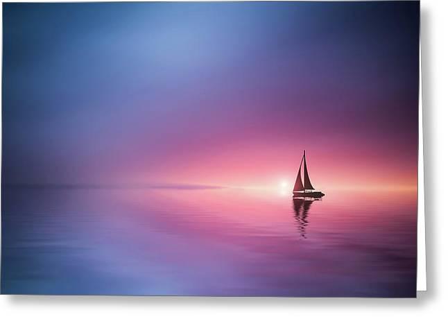 Sailing Across The Lake Toward The Sunset Greeting Card