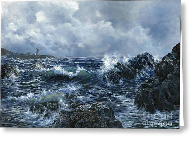 Greeting Card featuring the painting Sailor's Light by Lynne Wright