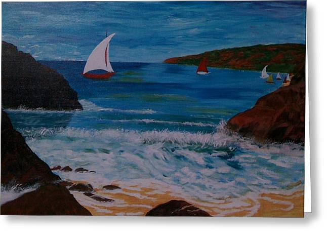 Greeting Card featuring the painting Sails by Judi Goodwin