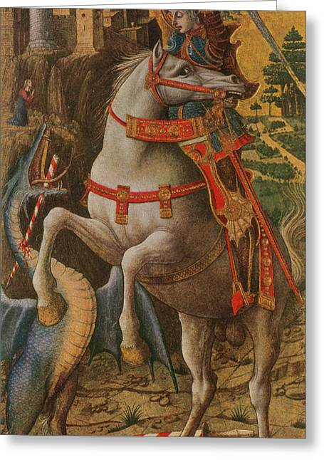 Saint George And The Dragon Greeting Card by Photo Researchers
