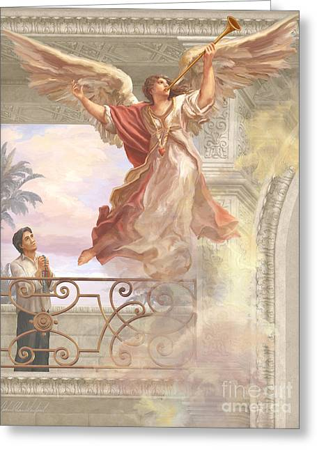 Saint Lorenzo Ruiz And Angel Greeting Card by John Alan  Warford