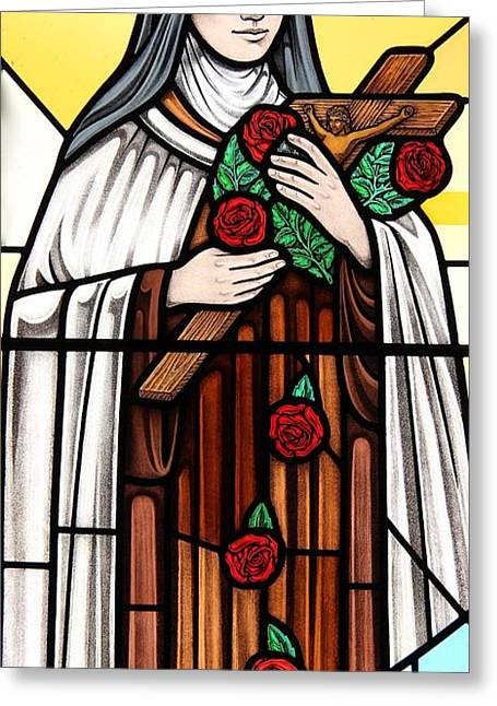 Saint Therese Of Lisieux Greeting Card by Gilroy Stained Glass
