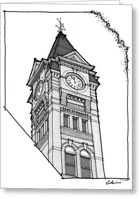 Greeting Card featuring the drawing Samford Hall Clock Tower by Calvin Durham