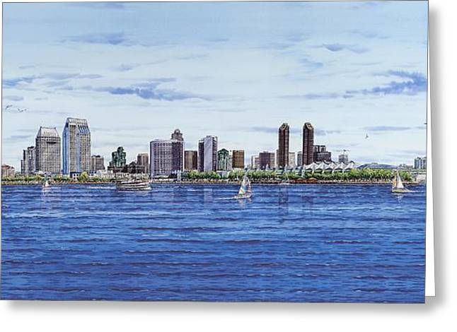 San Diego Skyline Greeting Card by John YATO