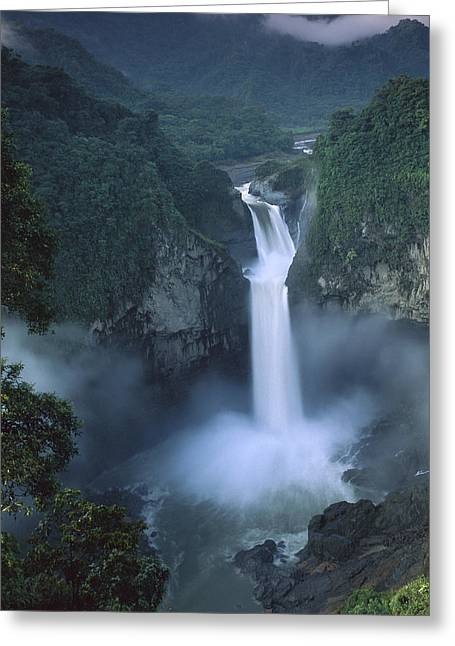 San Rafael Falls On The Quijos River Greeting Card by Pete Oxford