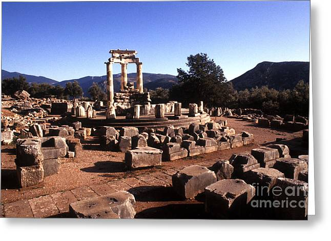Sanctuary Of Athena At Delphi Greeting Card by Bill Bachmann