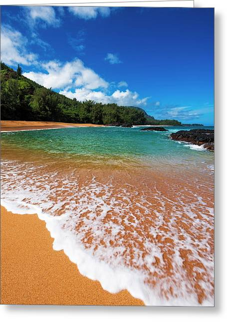Sand And Surf At Lumahai Beach, Island Greeting Card