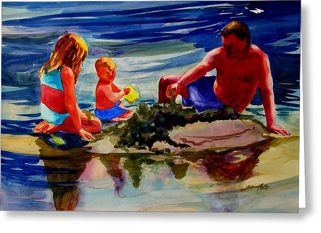 Sandcastles With Daddy Greeting Card by Julianne Felton
