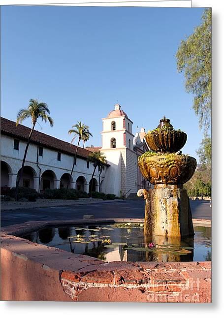 Santa Barbara Mission Fountain Greeting Card by Henrik Lehnerer