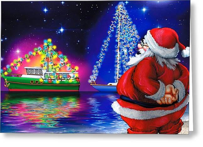 Crusin' Santa Claus Greeting Card by Doc Braham