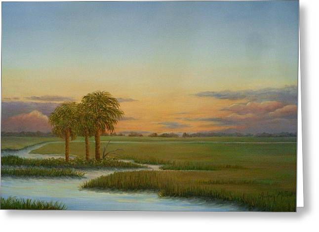 Santee Sunset Greeting Card by Audrey McLeod