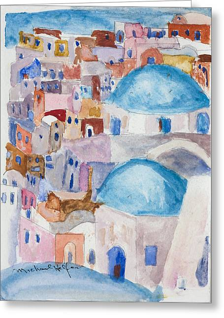 Santorini Splendor Greeting Card