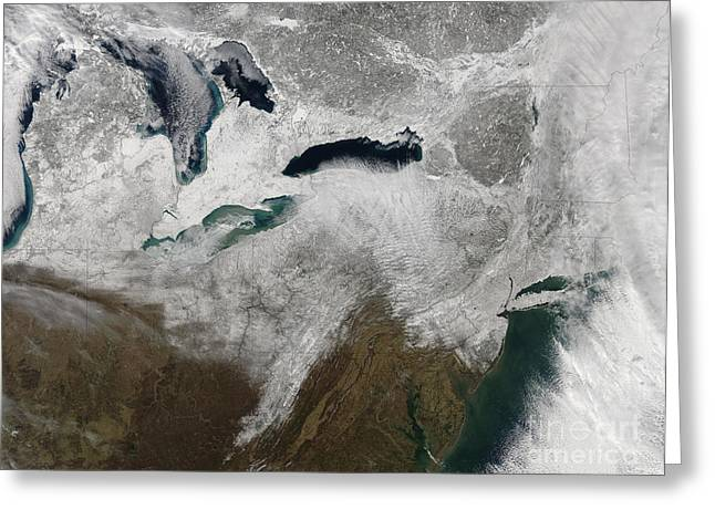Satellite View Of A Large Noreaster Greeting Card