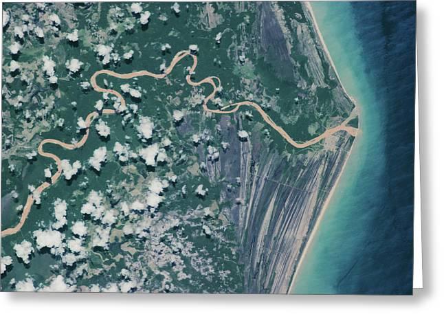 Satellite View Of Coastal Area Greeting Card