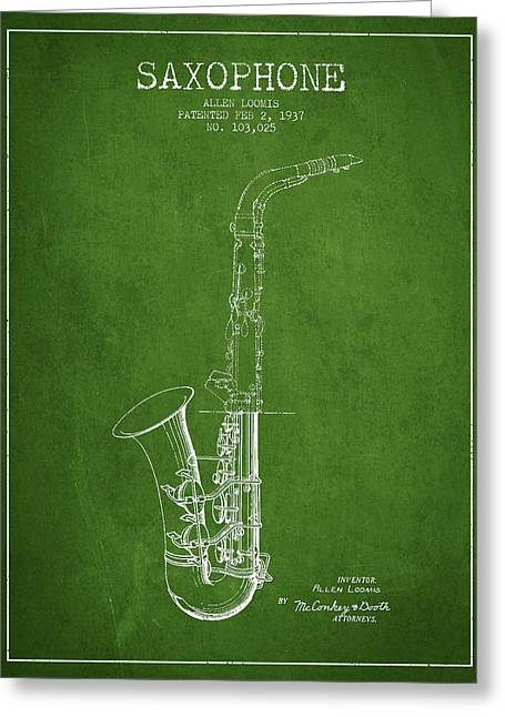 Saxophone Patent Drawing From 1937 - Green Greeting Card by Aged Pixel