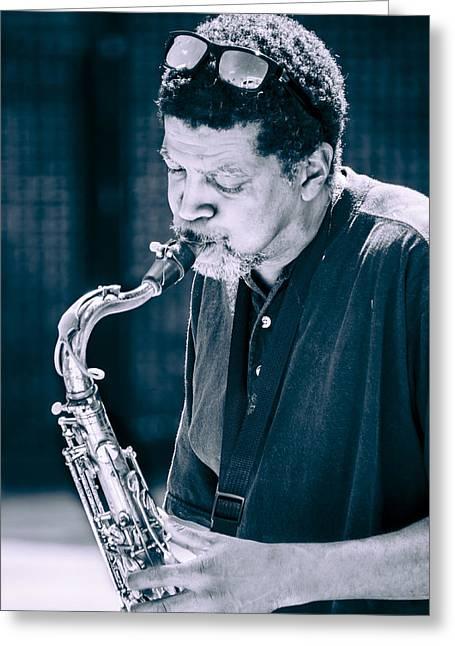 Saxophone Player 2 Greeting Card by Carolyn Marshall