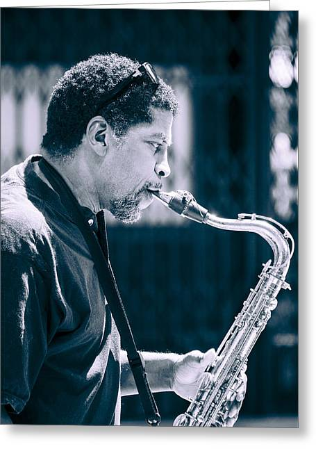 Saxophone Player Greeting Card by Carolyn Marshall