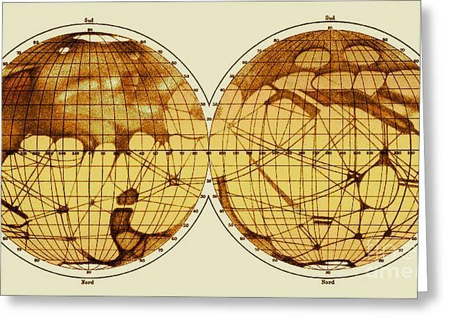 Schiaparelli Map, Canali Of Mars, 1898 Greeting Card