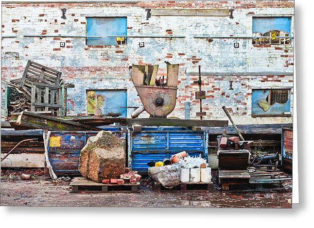 Scrap Yard Greeting Card by Tom Gowanlock
