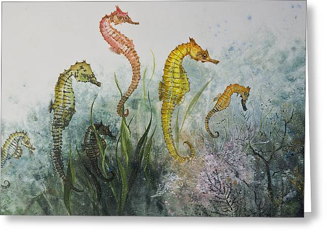 Sea Horses Greeting Card by Nancy Gorr