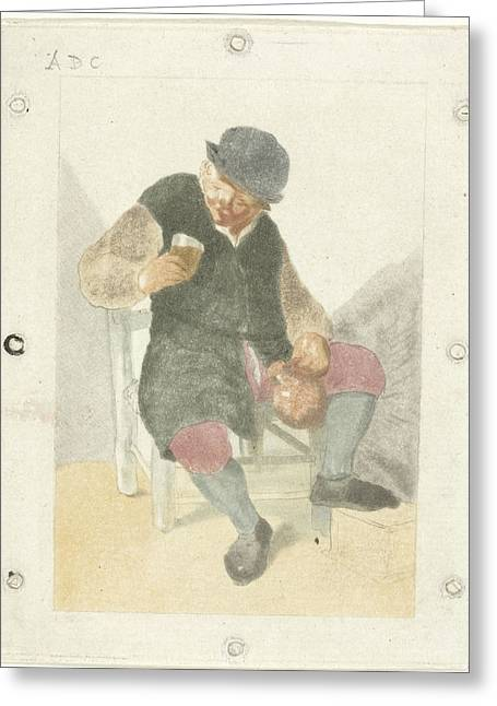 Seated Farmer With Pitcher, Cornelis Ploos Van Amstel Greeting Card by Cornelis Ploos Van Amstel And Adriaen Van Ostade