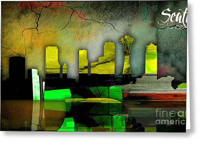 Seattle Skyline Watercolor Greeting Card by Marvin Blaine